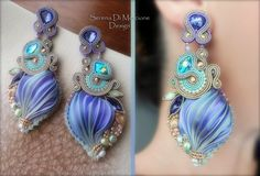 Silk and soutache earrings with Swarovski elements - by Serena Di Mercione