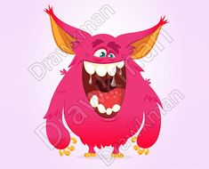 Illustration of Happy cartoon monster. Vector Halloween pink furry monster vector art, clipart and stock vectors. Monsters Vs Aliens, Monster Book Of Monsters, Cartoon Monsters, Cartoon Characters, Monster Illustration, Book Illustration, Monster Vector, Happy Monster, Happy Cartoon