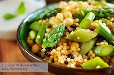 Asparagus Couscous with Chickpeas and Almonds /use wholegrain couscous; skip salt and pepper/