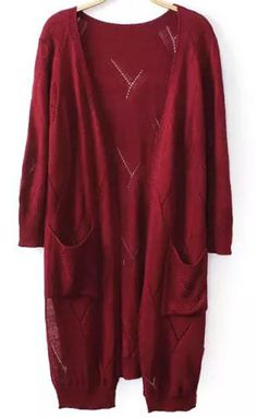 Wine Red Half Sleeve Hollow Pockets Knit Cardigan pictures