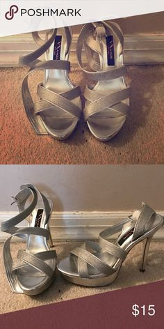 Silver Nina heels These silver 3 1/2 inch heels have only been worn once, in almost perfect condition. Size 6 Nina Shoes Heels