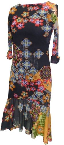Dinasty Boat Neck Dress: Lined Boat Neck 1/2 Sleeve Dress with Flaim Bottom Combo Print. Made in the U.S.A. Sizes: S - XL