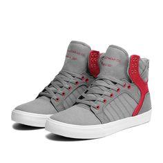 SUPRA SKYTOP Shoe | GREY / RED | Official SUPRA Footwear Site