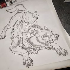 Wolf ready for Blake's sleeve this week. Currar Whitham-Field on Instagram