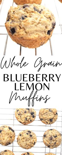 These are healthy whole grain blueberry lemon muffins! So good and easy to make! Great recipe for breakfast or snack.