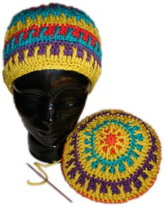 Way too colorful hat ~ free pattern