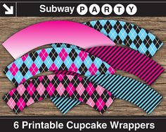 INSTANT DOWNLOAD Printable Monster High Theme Party Cupcake Wrappers in Pink, Blue and Black Argyle, Ombre & Candy Stripes. DIY 8x11. by subwayParty, $4.20