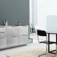 Sigurd Larsen's kitchen design for Reform gets an industrial look because of the raw aluminium. It's an IKEA hack.