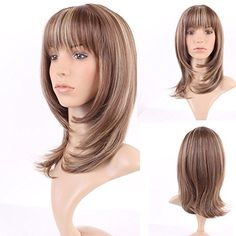 Snoilite Long Layer Straight Hair Wigs for Women Ladies Natural Ombre Daily Party Dress Cosplay Costume Heat Resistant Synthetic Full Wig with Bangs Light Brown Blonde Mix135 -- Visit the image link more details. Note:It is affiliate link to Amazon.