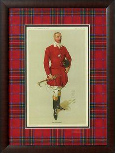 Jeffrey Banks-  Lord Annaly Framed Print with Royal Stewart Tartan Mat.