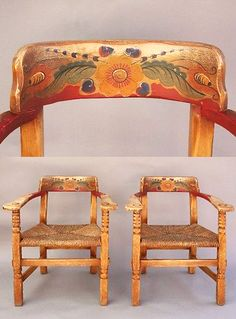 Incroyable Pair Of Coronado Chairs   Great Painted Detail. (eBay)