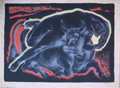 """Europe and the Bull"""" """"Europa und der Stier"""" Lithography Made: 1955, Hans Erny"""
