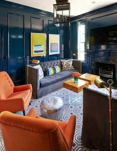 Lacquered Marine Blue Den in Charlotte, NC by Holly Hollingsworth Phillips.