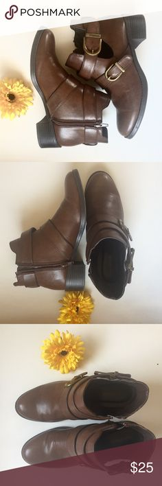 Brown Buckle Booties Size 8 Great used condition! Just a tad bit too big on me so hoping to give them a new home! Easy Spirit Shoes Ankle Boots & Booties
