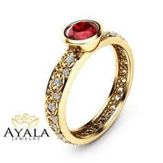 Natural Ruby Engagement Ring 14K Yellow Gold by AyalaDiamonds