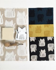 "1,078 Likes, 36 Comments - Sarah Golden (@makermaker) on Instagram: ""My cat fabric all started with a hand carved block and block printing by hand, shown on the left.…"""