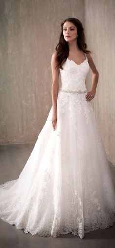 Adrianna Papell | All-Over Lace Applique A-Line Wedding Dress with Straps - 31019