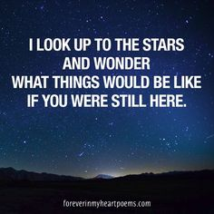 I look up to the stars and wonder what things would be like if you were still here.