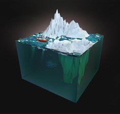 3D - Mammoth Falls by Aldo Pulella, via Behance