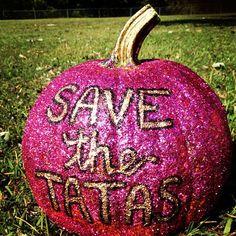 Save the Tatas pumpkin Pink Pumpkins, Painted Pumpkins, Carved Pumpkins, Painted Rocks, Holiday Crafts, Holiday Fun, Breast Cancer Crafts, Save The Tatas, Pink Out