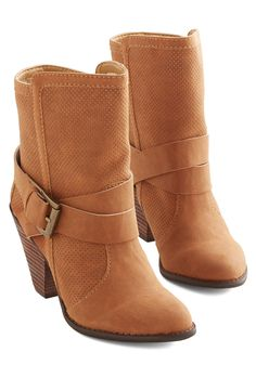 Strut Up and Drive Bootie. Put the pedal to the metal in these honey-brown booties from Mojo Moxy! #tan #modcloth