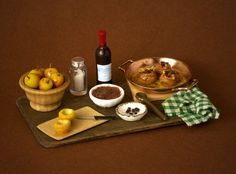 Charming Miniature Roast Apple Board For Your Dollhouse by DinkyWorld at Etsy