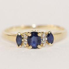 September Birthstone  Vintage 14k Gold Diamond by LadyLibertyGold