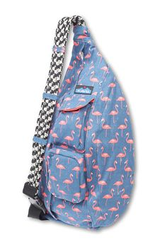 "KAVU%89Rope Bag-Flamingo-Adjustable rope shoulder strap, two vertical zip compartments, two key or cell phone pockets, padded back with KAVU embroidery. Dimensions: 11"" x 20"". Fabric: 12oz cotton canvas."