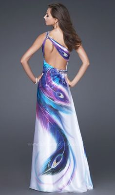 Another image of Peacock Satin Print La Femme Prom Dress 16401