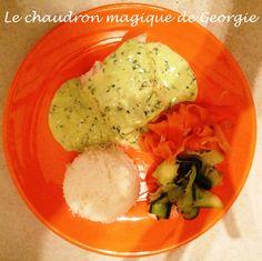 Cabillaud sauce Messine Weight Watchets accompagné de tagliatelles de légumes et riz