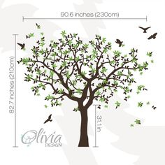 Large Wall Tree vinyl decal with bird stickers by theOliviaDesign