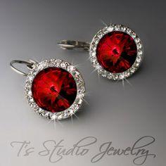 SONIA Deep Red Crystal Rhinestone Bridesmaid Earrings by TZTUDIO, $25.00
