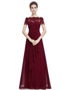 Ever Pretty Womens Long Flowy Lace Illusion Neckline Prom Dress 16 US Burgundy