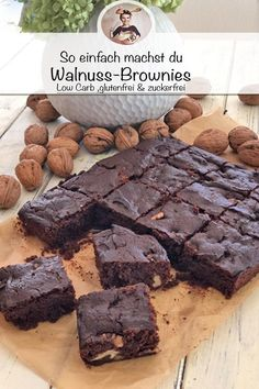 rezept kinder The tastiest walnut brownies Protein Desserts, Protein Brownies, Protein Snacks, Low Carb Desserts, Low Carb Recipes, Best Protein Shakes, Protein Shake Recipes, Delicious Cookie Recipes, Brownie Recipes