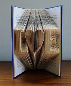 Folded Book Art - Boyfriend Gift - Girlfriend Gift - Monogrammed - Two Initials - Anniversary Gift For Men -  Paper Anniversary Gift by LucianaFrigerio on Etsy https://www.etsy.com/listing/122228527/folded-book-art-boyfriend-gift