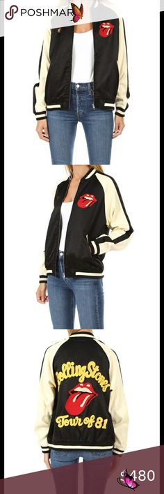 NWT Madeworn Rock Rolling Stones Bomber Jacket S M The cult bomber. New with tags authentic Madeworn Rolling Stones chain stitch satin bomber. Black and white with yellow embroidery on the back. Comes with one Rolling Stones pin! Full zip with real pockets. Please understand that Madeworn clothing is intentionally imperfect. They make their items by hand so each one is different. Unisex medium and fits a bit oversized- looks super cute if you're normally size small. Sold out everywhere! No… Jessica Black, Plus Fashion, Fashion Tips, Fashion Design, Fashion Trends, Jessica Jones, Chain Stitch, Rolling Stones, Jackets For Women