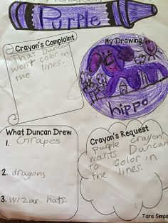 """I JUST finished the cutest writing papers ever! I am going to use them with Drew Daywalt's """"The Day the Crayons Quit"""". We have finished wi..."""