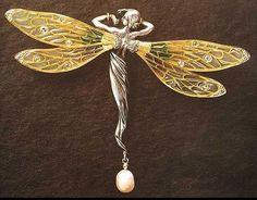 Philippe Wolfers (Bruselas, 1858-1929), Libélula (Libellule), oro, plata, piedras preciosas y perla. 1900