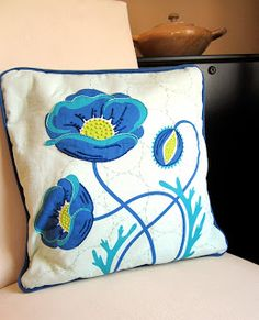 Fabric by Cindy Lindgren for Modern Yardage, pillow by Linden Tree, embroidery by Sarah Behnke