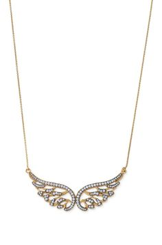 """Bellissimo Angelo Necklace: Cubic zirconia pave and rhuthenium plating trim these angelic wings.        Wings and chain finished in gold-plating.       16"""" with 2"""" extender.       Lead and nickel safe."""