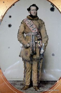 Antique Half Plate Ambrotype Mountain Man Frontiersman Buckskin Beadwork Photo | eBay