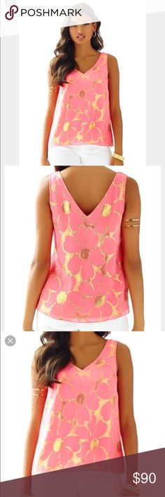 Lilly Pulitzer Capriani V Neck Lilly Pulitzer Capriani V Neck Top, coral and gold, excellent condition, only worn twice Lilly Pulitzer Tops Tank Tops