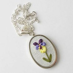 Violet necklace February birthday gift botanical by bstudio Silk Ribbon Embroidery, Embroidery Jewelry, Embroidery Designs, February Birthday, Crochet Elephant, Oval Pendant, Flower Necklace, Birthday Gifts, Hula