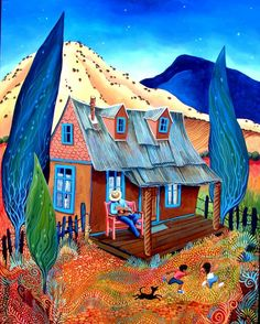 Celito Lindo  by Sally Bartos, New Mexico artist. Her work is available from bartos on Etsy.