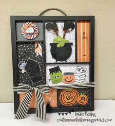 Confessions of a Stamping Addict (My Cards Projects) Lorri Heiling Halloween Sampler Stampin Up Jars of Haunts Cookie Cutter Halloween Halloween Paper Crafts, Halloween Party Supplies, Halloween Home Decor, Halloween Projects, Holiday Crafts, Halloween Decorations, Autumn Crafts, Halloween Shadow Box, Halloween Frames