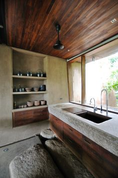 Simple but I love the use of wood and stone :) Retreat in the South-Indian Countryside / Mancini #wood #stone #decor