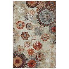 Enhance any indoor or outdoor entertaining space with an Alexa Medallion Indoor/Outdoor Rug from Mohawk. Showcasing exquisite design of floral imagery and ornate medallions in warm colors, this cozy rug is machine made to be fade-and stain-resistant.