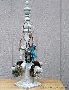 DIY bracelet stand with a chalk paint finish ~ this is a great way to organize bracelets (or hair accessories!).