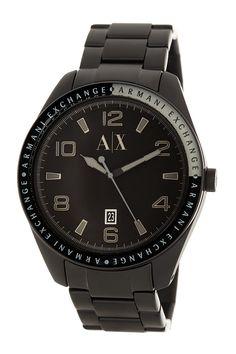 All black Armani Exchange watch for men.