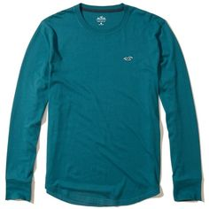 Hollister Must-Have Long-Sleeve Crewneck T-Shirt ($20) ❤ liked on Polyvore featuring men's fashion, men's clothing, men's shirts, men's t-shirts, teal, mens slim fit t shirts, mens slim t shirts, mens longsleeve shirts, mens slim fit long sleeve t shirts and j crew mens shirts